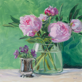 Peonies and cranesbill