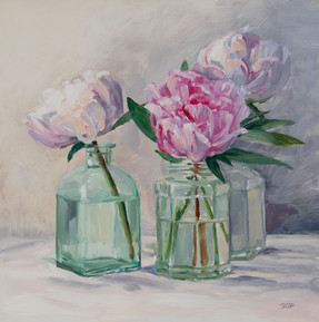 Pink peonies, green glass