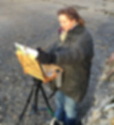 Sarah Poppleton painting en plein air in Rock, North Cornwall