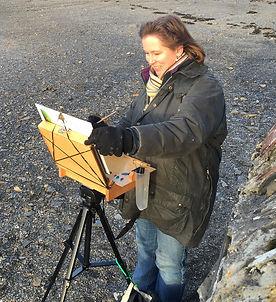 Sarah Poppleton painting en plein air in Rock, North Cornwall