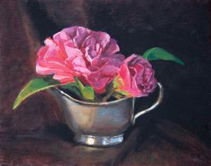 Camellias and silver cream jug