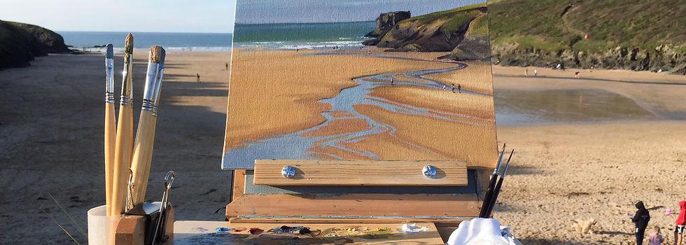 Painting en plein air at Porthcothan beach