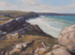 Oil painting of the North Cornwall coast near Port Quin showing the sea and cliffs