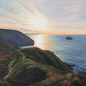 Trebarwith sunset, October