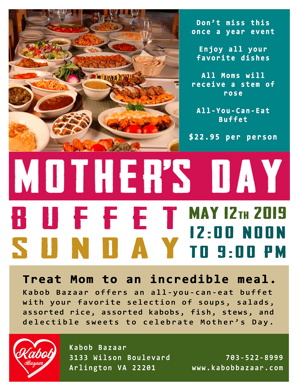 Celebrate Mother's Day at Kabob Bazaar