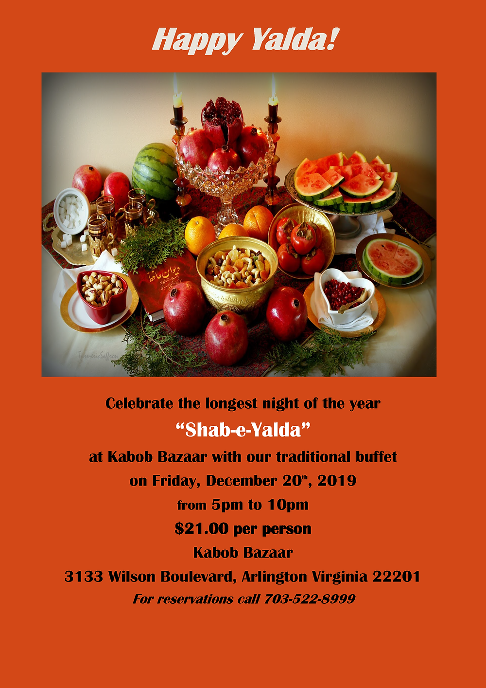 Shab-E-Yalda Flyer Kabob Bazaar Winter Solstice Celebration