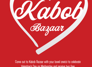 Celebrate Valentine's Day at Kabob Bazaar: February 14, 2018