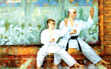 Портрет Гиголаева Артура и тренера Миримоняна Станислава, мастера спорта по рукопашному бою