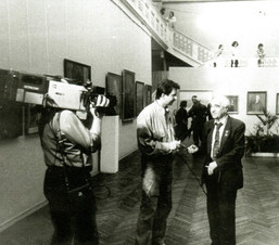 Академик М.К. Аникушин на открытии выставки «Художники Рязани». Ленинград, 1989 год