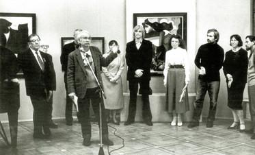 Открытие выставки С.И. Ковригига (вцентре) в ЦДРИ. Москва, 1990 год