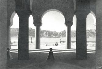 Вид со двора ратуши на озеро Меларен