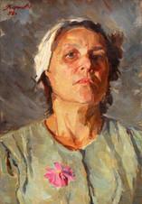 Портрет матери с цветком
