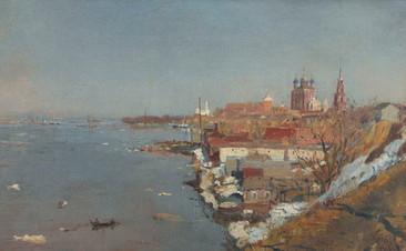 Весенний разлив на Оке. Вид на Рязанский Кремль