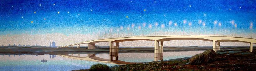 Мост через Оку с видом на Рязанский Кремль