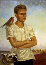 Портрет молодого человека с собакой и попугаем