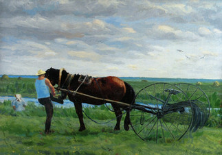 Мужчина запрягающий лошадь