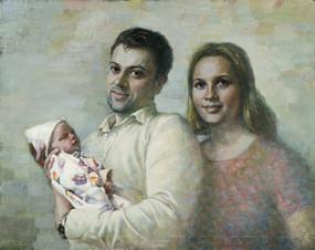 Сын Антон с женой Натальей и внуком Гришей