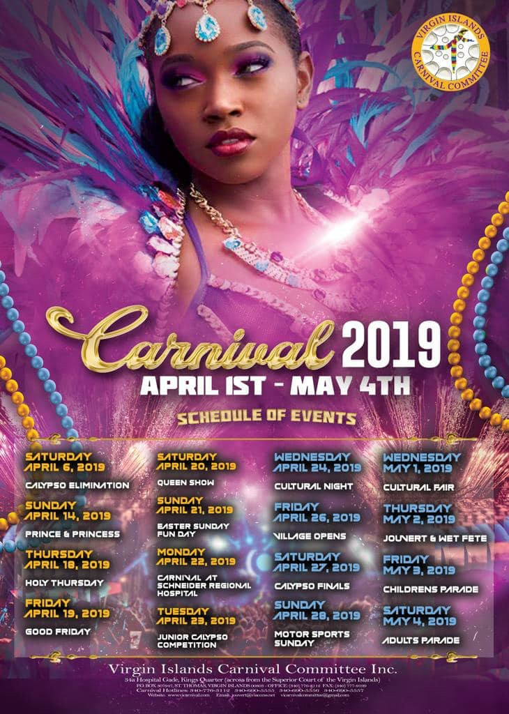 List of Events for St Thomas Carnival April 6- May 4 2019