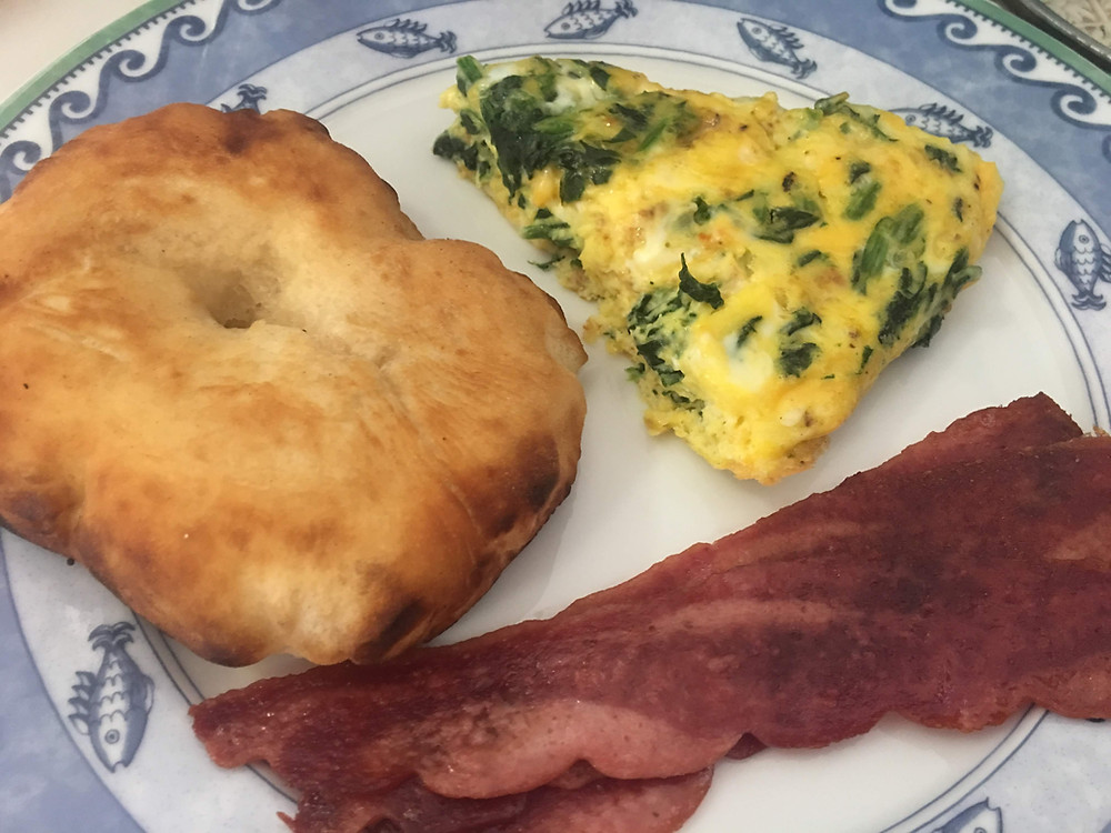 Johnny Cake with Spinach Fritatta and Turkey bacon