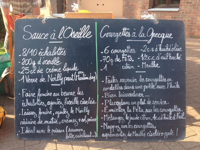 Sauce à l'oseille + Courgettes à la grecque