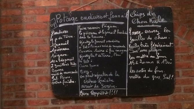 Potage endives et fenouil & Chips de chou kale