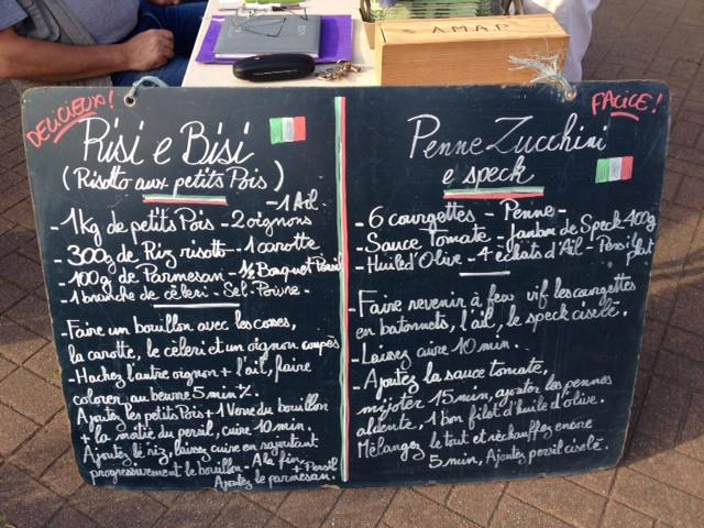Risotto aux petits pois + Penne zucchini e speck