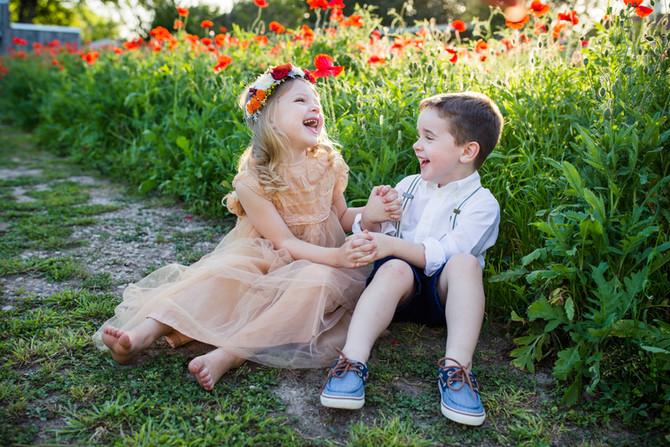 Cousins in Poppies| San Antonio Children's Photographer