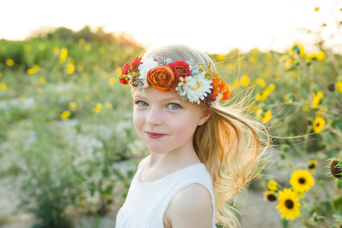 Adeline in the Sunflowers| San Antonio Children's Photographer