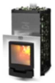 Печь-каменка Теплодар Домна 30 ЛРК Панорама (лев.) + дверца с обрамлением 16