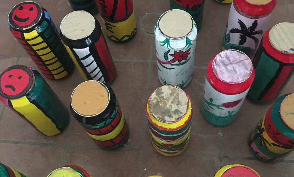 13. Musical shakers for waste tin cans .