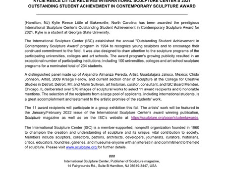 ISC's Outstanding Student Achievement In Contemporary Sculpture Award 2021