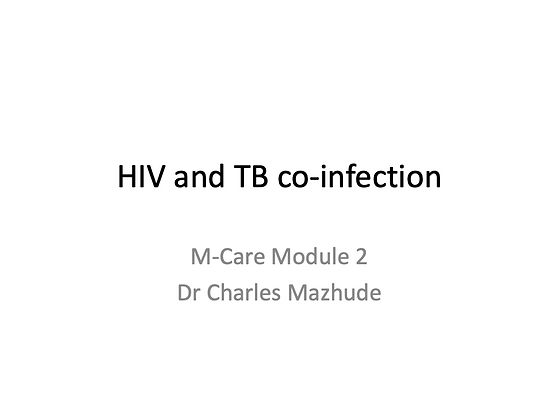 Charles Mazhude - Treatment of HIV-TB Co-infection