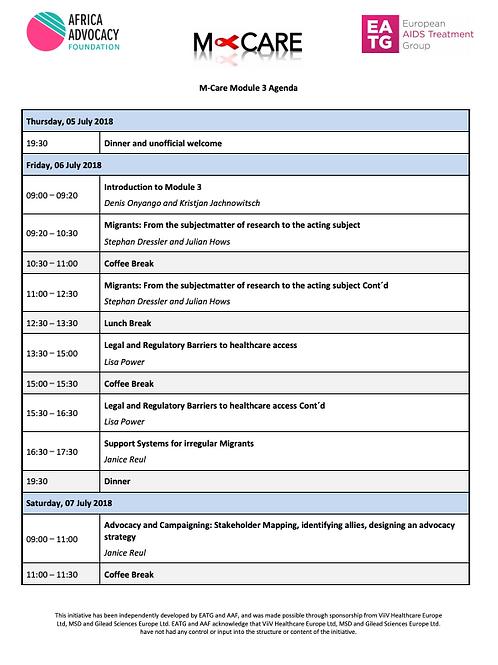 M-Care Module 3 Agenda
