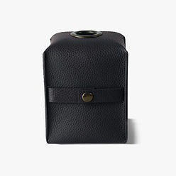 Erato Tissue Holder Black, Deri Peçetelik
