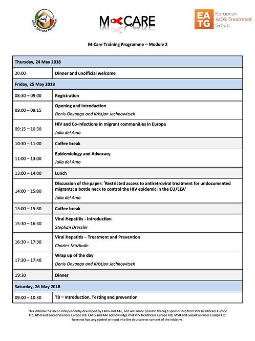 M-Care 2018 - Module 2 Agenda