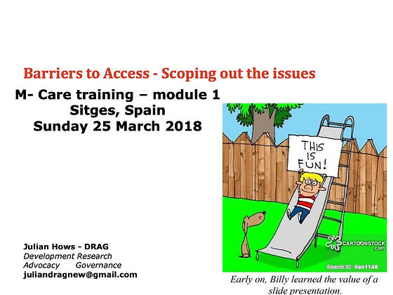 Julian Hows - Barriers to Access - Scoping out the issues