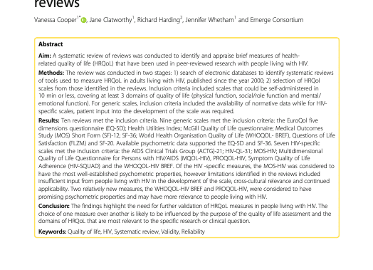 Measuring quality of life among people living with HIV: a systematic review ...