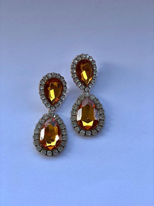 Sitrin taş kristal taşlı sekiz küpe