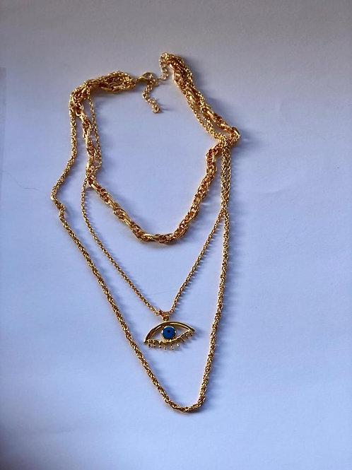Göz uçlu gold üç zincir kolye