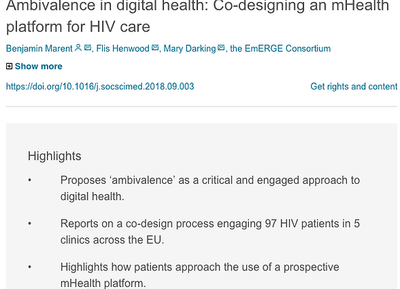 Ambivalence in digital health: Co-designing an mHealth platform for HIV care