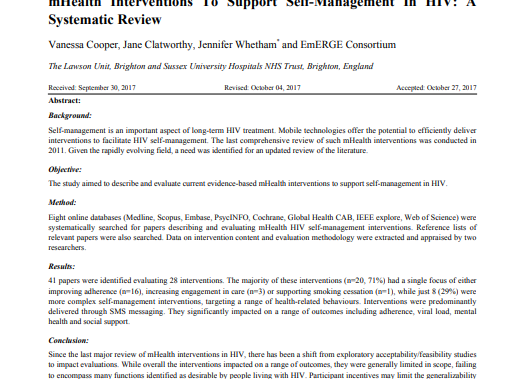 mHealth Interventions To Support Self-Management In HIV: A Systematic Review