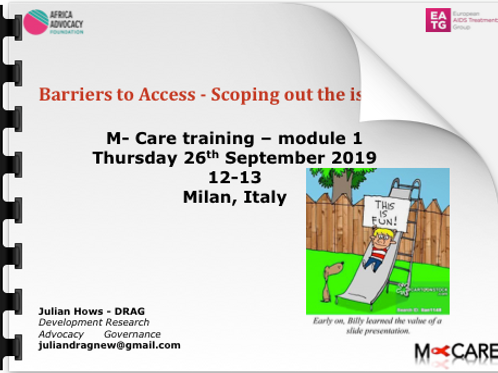 Julian Hows Barriers to Access Scoping out the issues