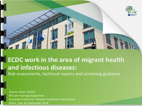 Teymur Noori ECDC work in the area of migrant health and infectious diseases