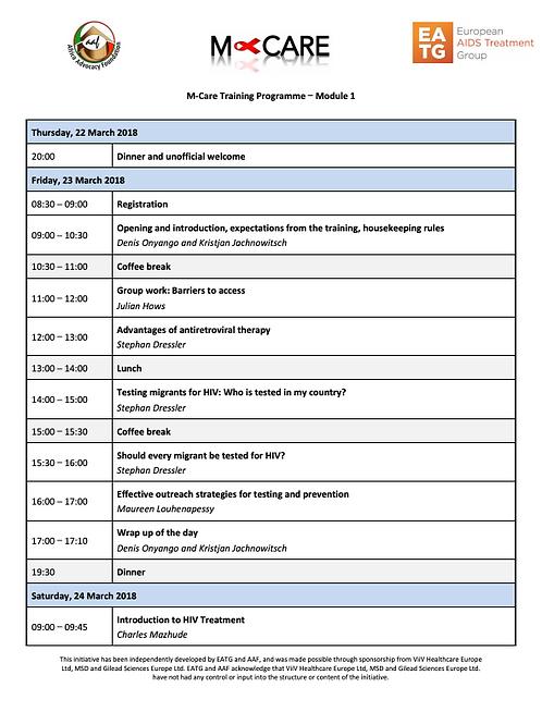 M-Care 2018 Module 1 Agenda