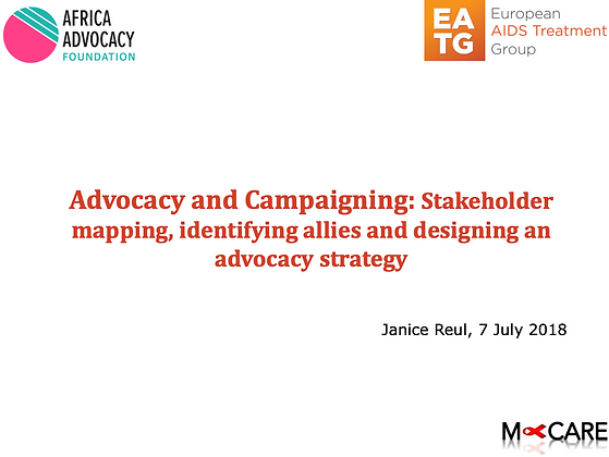 Advocacy and Campaigning: Stakeholder Mapping, identifying allies, designing...
