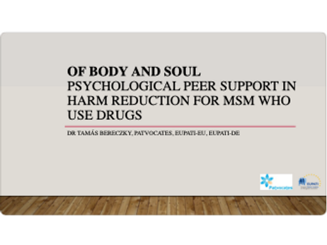 Psychological peer support in harm reduction for MSM who use drugs