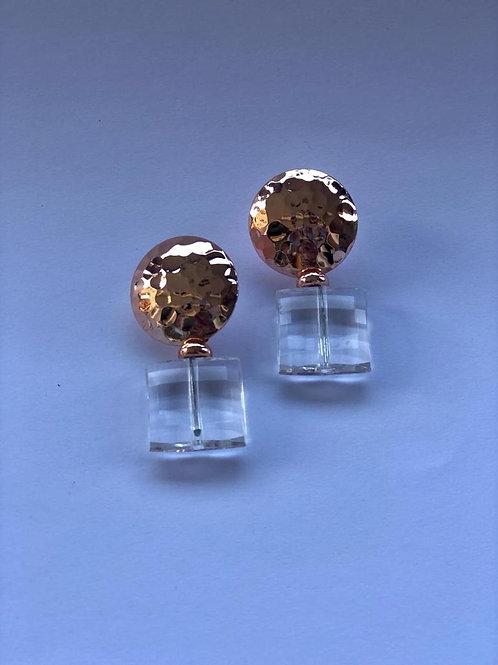 Kare kristalli gold düğme küpe