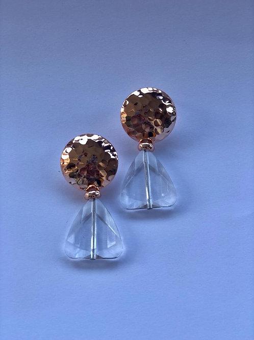 Üçgen kristalli gold düğme küpe