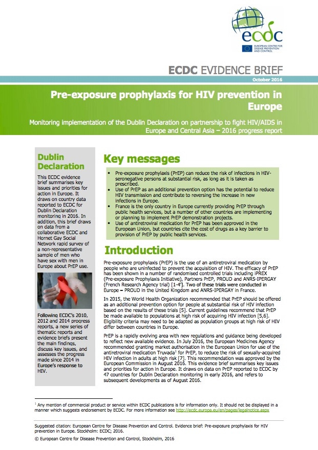 Pre-exposure prophylaxis for HIV prevention in Europe