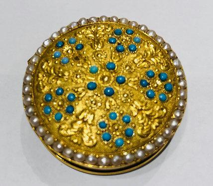 Round Antique Gold Pill Box